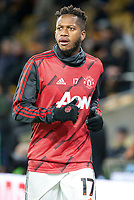 4th January 2020; Molineux Stadium, Wolverhampton, West Midlands, England; English FA Cup Football, Wolverhampton Wanderers versus Manchester United; Fred of Manchester United warming up before the match  - Strictly Editorial Use Only. No use with unauthorized audio, video, data, fixture lists, club/league logos or 'live' services. Online in-match use limited to 120 images, no video emulation. No use in betting, games or single club/league/player publications