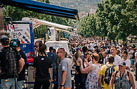 The TdF pit-lane before the start...<br /> <br /> Stage 15: Millau &gt; Carcassonne (181km)<br /> <br /> 105th Tour de France 2018<br /> &copy;kramon