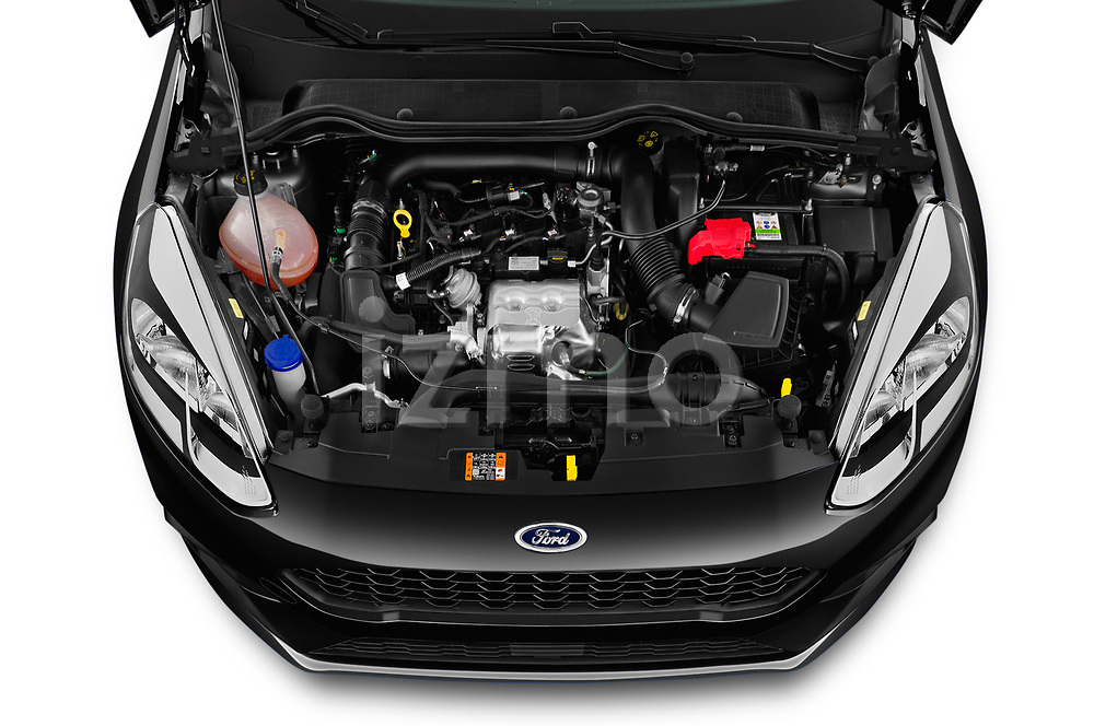 Car stock 2019 Ford Fiesta ST-Line 5 Door Hatchback engine high angle detail view