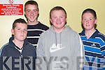 SUPPORTING: Supporting the Denny's Kerry District League Fundraiser at Kingdom Greyhound Stadium on Saturday night were: Damien Mackessy (Ardfert), Sean Dowling (Kilmoyley), Eddie Gaynor (Leith) and Mikie Kennedy (Tralee).   .