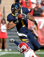 Marvin Jones of California catches a pass from Zach Maynard during the game against Fresno State at Candlestick Park in San Francisco, California on September 3rd, 2011.  California defeated Fresno State, 36-21.