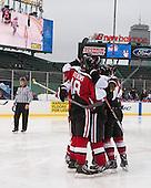 - The Northeastern University Huskies defeated the University of Massachusetts Lowell River Hawks 4-1 (EN) on Saturday, January 11, 2014, at Fenway Park in Boston, Massachusetts.