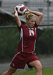Florida State's Becky Edwards throws the ball in on Sunday, October 22nd, 2006 at Koskinen Stadium in Durham, North Carolina. The Duke Blue Devils defeated the Florida State University Seminoles 3-1 in an Atlantic Coast Conference NCAA Division I Women's Soccer game.