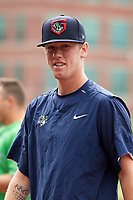 Gwinnett Stripers pitcher Kolby Allard (56) walking to the dugout before a game against the Columbus Clippers on May 17, 2018 at Huntington Park in Columbus, Ohio.  Gwinnett defeated Columbus 6-0.  (Mike Janes/Four Seam Images)