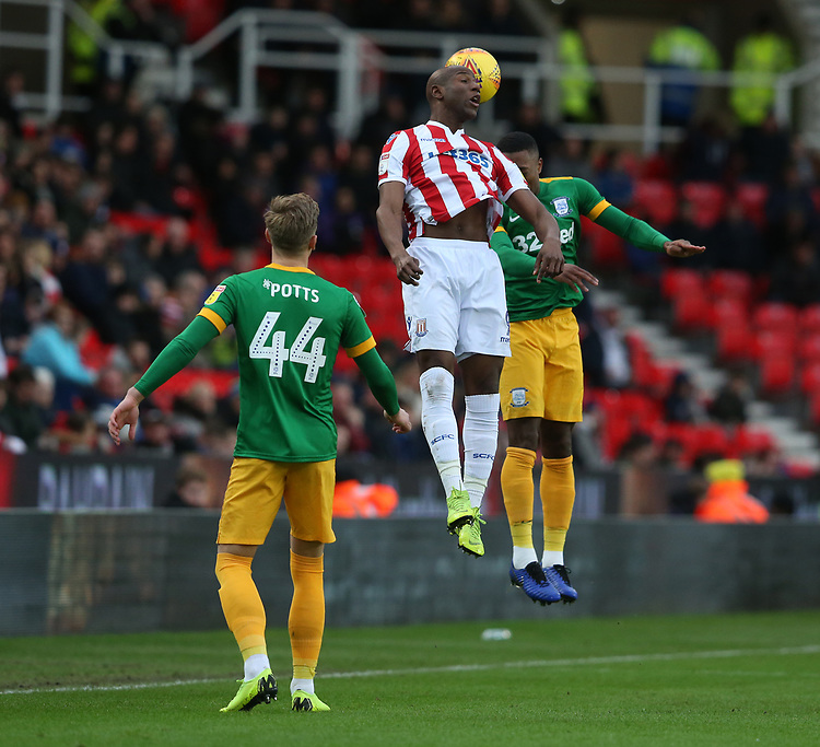 Stoke City's Benik Afobe<br /> <br /> Photographer Stephen White/CameraSport<br /> <br /> The EFL Sky Bet Championship - Stoke City v Preston North End - Saturday 26th January 2019 - bet365 Stadium - Stoke-on-Trent<br /> <br /> World Copyright © 2019 CameraSport. All rights reserved. 43 Linden Ave. Countesthorpe. Leicester. England. LE8 5PG - Tel: +44 (0) 116 277 4147 - admin@camerasport.com - www.camerasport.com