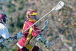 Los Angeles, CA 02/20/10 - John Duddridge (USC # 1) in action during the USC-Loyola Marymount University MCLA/SLC divisional game at Leavey Field (LMU).  LMU defeated USC 10-7.