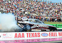 Sept. 22, 2012; Ennis, TX, USA: NHRA funny car driver Jack Beckman during qualifying for the Fall Nationals at the Texas Motorplex. Mandatory Credit: Mark J. Rebilas-US PRESSWIRE