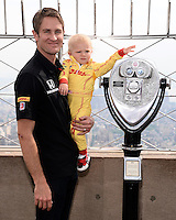 NEW YORK, NY - MAY 27, 2014: Indianapolis 500 Winner Ryan Hunter-Reay , Ryden Hunter-Reay and Beccy Hunter-Reay Visit The Empire State Building on May 27, 2014 in New York City. HP/Starlitepics