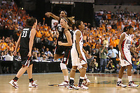 6 April 2008: Stanford Cardinal Jillian Harmon (33), Candice Wiggins (11), and Kayla Pedersen (right) celebrate after Stanford's 82-73 win against the Connecticut Huskies in the 2008 NCAA Division I Women's Basketball Final Four semifinal game at the St. Pete Times Forum Arena in Tampa Bay, FL.