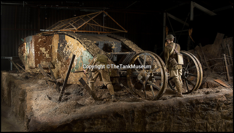 BNPS.co.uk (01202 558833)<br /> Pic: TheTankMuseum/BNPS<br /> <br /> MkI Tank.<br /> <br /> A poignant ring made from a shard of glass that struck a First World War tank commander when his periscope took a direct hit has been unearthed 100 years later.<br /> <br /> Lieutenant Sir Basil Henriques was peering into the viewpoint during the first outing of the Mk I tank on the battlefield when artillery fire struck a glass prism that shattered, sending splinters into his face.<br /> <br /> Medics later removed the pieces and the officer kept the largest part and had it mounted in a gold ring which he then gave to his new bride, Rose. The item has been unearthed in the archives of the Tank Museum in Dorset.