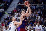 Real Madrid's Jaycee Carroll and FC Barcelona Lassa's Aleksandar Vezenkov during Liga Endesa match between Real Madrid and FC Barcelona Lassa at Wizink Center in Madrid, Spain. March 12, 2017. (ALTERPHOTOS/BorjaB.Hojas)