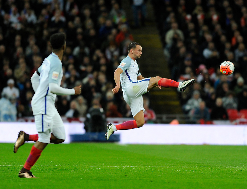 England's Danny Drinkwater in action during todays match  <br /> <br /> Photographer AshleyWestern/CameraSport<br /> <br /> Football - Breast Cancer Care International Friendly - England v Holland - Tuesday 29th March 2016 - Wembley Stadium - London<br /> <br /> &copy; CameraSport - 43 Linden Ave. Countesthorpe. Leicester. England. LE8 5PG - Tel: +44 (0) 116 277 4147 - admin@camerasport.com - www.camerasport.com