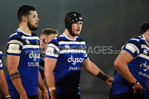 Will Britton of Bath United looks on at a scrum. Premiership Rugby Shield match, between Bath United and Gloucester United on April 8, 2019 at the Recreation Ground in Bath, England. Photo by: Patrick Khachfe / Onside Images