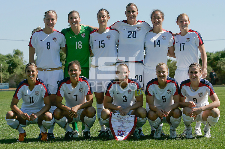 USA´s starting XI. The United States defeated Italy 2-0 during an Algarve Cup Group B match at Restinga Stadium in Alvor, Portugal on March 07, 2008. Paulo Cordeiro/isiphotos.com