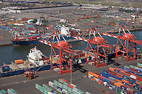 Aerial views, container cargo port, Elizabeth, NJ