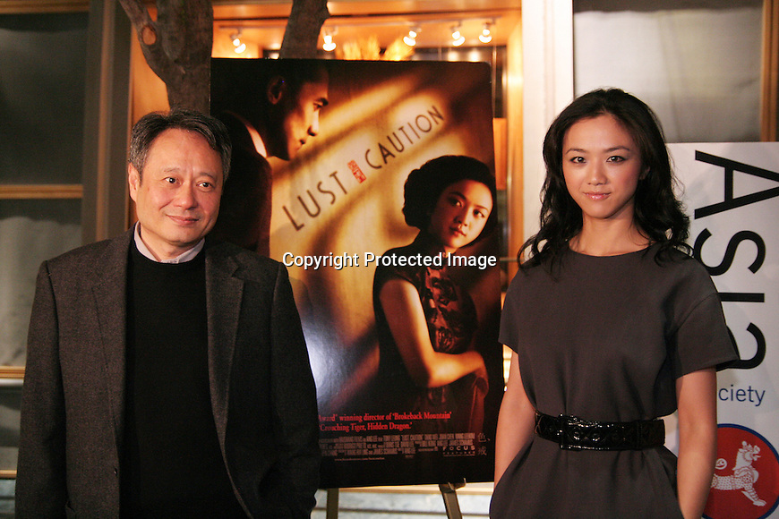 Ang Lee and Tang Wei at a screening of LUST, CAUTION at the Asia Society on November 4, 2007.Photo by Lia Chang