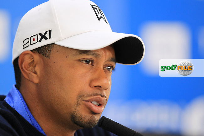 Tiger Woods (USA) speaking to the media at THE 141st OPEN CHAMPIONSHIP, Royal Lytham & St Annes GC,Lytham St Annes,Lancashire,England. 17/07/2012.Picture Fran Caffrey www.golffile.ie