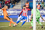 Yannick Ferreira Carrasco (r) of Atletico de Madrid competes for the ball with Alejandro Galvez Jimena of SD Eibar during their Copa del Rey 2016-17 Quarter-final match between Atletico de Madrid and SD Eibar at the Vicente Calderón Stadium on 19 January 2017 in Madrid, Spain. Photo by Diego Gonzalez Souto / Power Sport Images