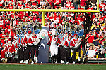 The Wisconsin Badgers marching band takes the field prior to the 2012 Rose Bowl NCAA football game against the Oregon Ducks in Pasadena, California on January 2, 2012. The Ducks won 45-38. (Photo by David Stluka)