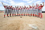 "MADISON, WI - APRIL 15: The Wisconsin Badgers sing ""Varsity"" after the 2nd game against the Purdue Boilermakers at the Goodman Diamond softball field on April 15, 2007 in Madison, Wisconsin. (Photo by David Stluka)"