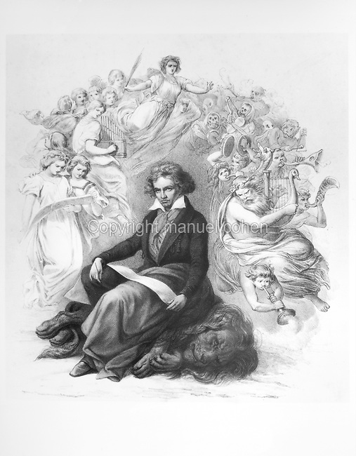 Allegory of the inspiration of Ludwig van Beethoven, 1770-1827, German Classical and Romantic composer and pianist, engraving, 1860, after the portrait by Joseph Karl Stieler, 1781-1858, German painter. Copyright © Collection Particuliere Tropmi / Manuel Cohen