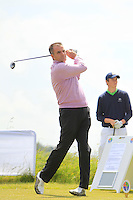 John McGinn (Laytown &amp; Bettystown) on the 1st tee during Round 1 of the Irish Amateur Close Championship at Seapoint Golf Club on Saturday 7th June 2014.<br /> Picture:  Thos Caffrey / www.golffile.ie