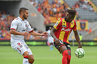 20190803 - LENS , FRANCE : Lens' Arial Mendy (R) and Guingamp's Jeremy Mellot (L) pictured during the soccer match between Racing Club de LENS and En Avant Guingamp , on the second matchday in the French Dominos pizza Ligue 2 at the Stade Bollaert Delelis stadium , Lens . Saturday 3 th August 2019 . PHOTO DIRK VUYLSTEKE | SPORTPIX.BE