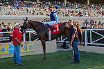 AUG 8,2014:Master the Blues,ridden by Kent Desormeaux,wins the Daisycutter Handicap at Del Mar in Del Mar,CA. Kazushi Ishida/ESW/CSM