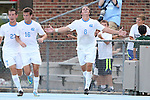 29 August 2014: North Carolina's Tyler Engel (8) celebrates his goal with Rob Lovejoy (16) and Nick Williams (27). The University of North Carolina Tar Heels hosted the University of California Bears at Fetzer Field in Chapel Hill, NC in a 2014 NCAA Division I Men's Soccer match. North Carolina won the game 3-1.