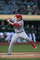 OAKLAND, CA - SEPTEMBER 4:  Mike Trout #27 of the Los Angeles Angels bats against the Oakland Athletics during the game at the Oakland Coliseum on Wednesday, September 4, 2019 in Oakland, California. (Photo by Brad Mangin)