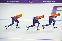 OLYMPIC GAMES: PYEONGCHANG: 18-02-2018, Gangneung Oval, Long Track, Team Pursuit Men, Team Netherlands, Jan Blokhuijsen, Sven Kramer, Koen Verweij, ©photo Martin de Jong