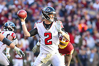 Landover, MD - November 4, 2018: Atlanta Falcons quarterback Matt Ryan (2) throws a pass during the  game between Atlanta Falcons and Washington Redskins at FedEx Field in Landover, MD.   (Photo by Elliott Brown/Media Images International)