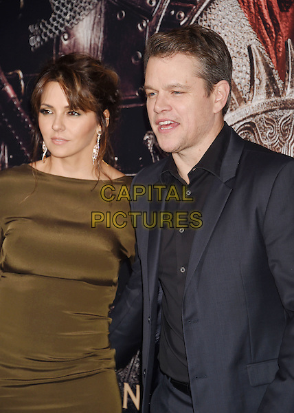 HOLLYWOOD, CA - FEBRUARY 15: Actor Matt Damon (R) and wife Luciana Barroso arrive at the premiere of Universal Pictures' 'The Great Wall' at TCL Chinese Theatre IMAX on February 15, 2017 in Hollywood, California.HOLLYWOOD, CA - FEBRUARY 15: Actor Matt Damon; Luciana Barroso arrives at the premiere of Universal Pictures' 'The Great Wall' at TCL Chinese Theatre IMAX on February 15, 2017 in Hollywood, California.<br /> CAP/ROT/TM<br /> &copy;TM/ROT/Capital Pictures
