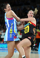 28.06.2010 Magic's Jodi Tod and Steels Daneka Wipiiti in action during the ANZ Champs Semi Final netball match between the Magic and Steel played at Vector Arena in Auckland. ©MBPHOTO/Michael Bradley