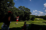 STILLWATER, OK - MAY 23: Kristen Gillman of Alabama tees off as Gigi Stoll of Arizona watches during the Division I Women's Golf Team Match Play Championship held at the Karsten Creek Golf Club on May 23, 2018 in Stillwater, Oklahoma. (Photo by Shane Bevel/NCAA Photos via Getty Images)