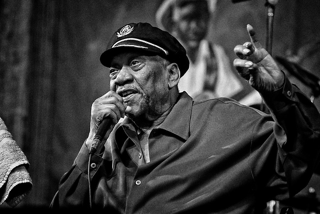 Bobby 'Blue' Bland performing in the Blues Tent at the 2011 New Orleans Jazz & Heritage Festival at the Fair Grounds Race Course in New Orleans, LA. USA.