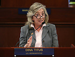 U.S. Rep. Dina Titus speaks to a joint session of the Nevada Legislature in Carson City, Nev., on Thursday, April 4, 2013.   .Photo by Cathleen Allison