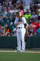 International League All-Star pitcher Mike Clevinger (39) of the Columbus Clippers attempts to be the last player standing on the line following the National Anthem at the 29th Annual Triple-A All-Star Game at BB&T BallPark on July 13, 2016 in Charlotte, North Carolina.  The International League defeated the Pacific Coast League 4-2.   (Brian Westerholt/Four Seam Images)