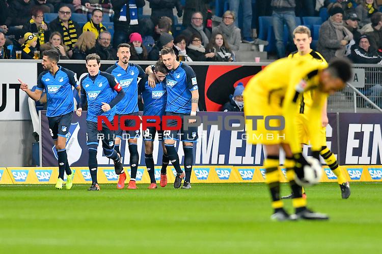 16.12.2016, wirsol-Rhein-Neckar-Arena, Sinsheim, GER, 1. FBL, TSG 1899 Hoffenheim vs Borussia Dortmund, im Bild Jubel ueber das 1:0 duch Mark Uth (TSG Hoffenheim #19) zweiter von rechts, rechts Niklas Suele (TSG Hoffenheim #25), links Sandro Wagner (TSG 1899 Hoffenheim #14)<br /> <br /> Foto &copy; nordphoto / Fabisch