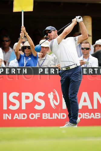 28.02.2016. Perth, Australia. ISPS HANDA Perth International Golf. Romain Wattel (FRA) tees off for his final round on the last day.