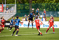 Kansas City, MO - Saturday May 13, 2017: Shea Groom, Emily Menges  during a regular season National Women's Soccer League (NWSL) match between FC Kansas City and the Portland Thorns FC at Children's Mercy Victory Field.