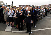 United States Vice President Richard Cheney and First Lady Laura Bush recite the Pledge of Allegiance at the dedication of the September 11th Memorial at the Pentagon on the 7th anniversary of the September 11, 2001 attacks on New York and Washington in Washington, DC, Thursday, September 11, 2008.  <br /> Credit: Joshua Roberts / Pool via CNP