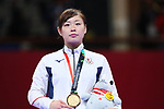 Ayumi Uekusa (JPN), <br /> AUGUST 25, 2018 - Karate : <br /> Women's Kumite +68kg Medal ceremony <br /> at Jakarta Convention Center Plenary Hall <br /> during the 2018 Jakarta Palembang Asian Games <br /> in Jakarta, Indonesia. <br /> (Photo by Naoki Nishimura/AFLO SPORT)