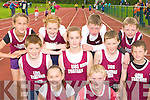 Listowel athletes at the Gneeveguilla AC open sports day in An Riocht Castleisland on Saturday front row l-r: Niamh Cullen, Alex Dowling. Back row: Ciara Donnegan, Brian O?'Seanacha?in, Orla Connell, Siobhain Donnegan, Gearoid Galvin, Jason Foley, Sean Galvin and James Donnegan.