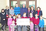 The Parents Council and Board of Management of Scoil Naomh Fhionain, Waterville raised EUR10,000 from a race night held in The Bay View Hotel on the 14th November. At the presentation on Wednesday were front l-r Leah Dwyer & Sarah O'Sullivan, middle l-r; Laura Dwyer, Jack Curran, Padraic Fitzpatrick, Denis Ormonde, Colin Teehan-O'Sullivan, Alannah O'Shea, Eoin Murphy, back l-r; Teachers: Yvonne O'Sullivan, Niamh McCarthy, Miriam Lyne, David O'Leary, Gearo?id Moran(Principal), Parents: Ursula Jouen, Zara Dwyer & Linda Higgins.