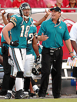 Jacksonville Jaguars head coach Jack Del Rio yells at #18 Matt Jones after he attempted to make a one handed catch at Raymond James Stadium in Tampa, Fl. (The Florida Times-Union, Rick Wilson)