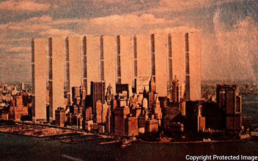 """Utopia:  World Trade Center """"Trade-Offs""""--Steelhenge.  Michael Langenstein postcard in NEW YORK MAGAZINE, July 21, 1975."""