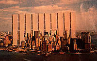 "Utopia:  World Trade Center ""Trade-Offs""--Steelhenge.  Michael Langenstein postcard in NEW YORK MAGAZINE, July 21, 1975."