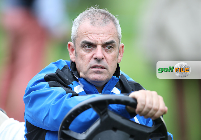 Ryder Cup Captain Paul McGinley (IRL) tracks the progress of the Fourball Matches on Day One at the Seve Trophy by Golf+ 2013, from Saint-Nom-La-Breteche, Paris, France. Picture:  David Lloyd / www.golffile.ie