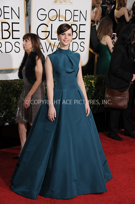 WWW.ACEPIXS.COM<br /> <br /> January 11 2015, LA<br /> <br /> Felicity Jones arriving at the 72nd Annual Golden Globe Awards at The Beverly Hilton Hotel on January 11, 2015 in Beverly Hills, California.<br /> <br /> By Line: Peter West/ACE Pictures<br /> <br /> <br /> ACE Pictures, Inc.<br /> tel: 646 769 0430<br /> Email: info@acepixs.com<br /> www.acepixs.com